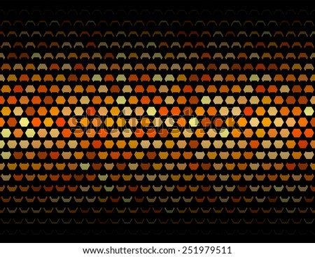 Plate geometric pattern of closing hexagons . Sunny orange vector shapes on black background.Decorations  element for web design or paper packaging. - stock vector
