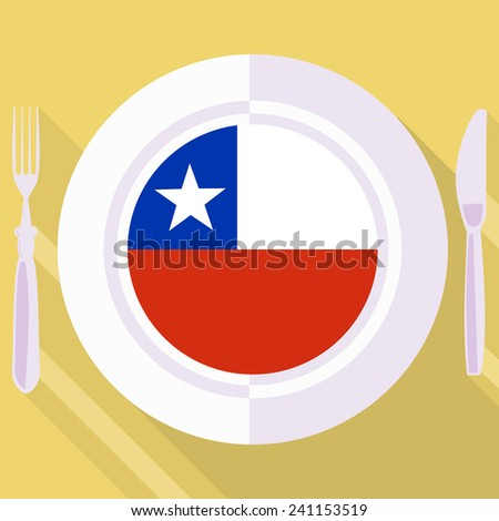 plate in flat style with flag of Chile - stock vector