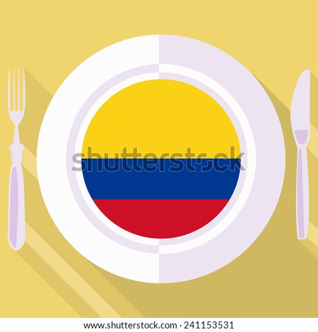 plate in flat style with flag of Colombia - stock vector