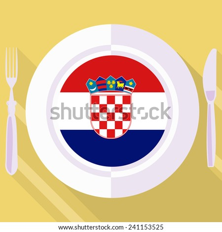 plate in flat style with flag of Croatia - stock vector