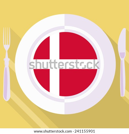 plate in flat style with flag of Denmark - stock vector