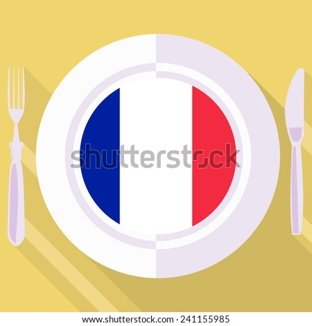 plate in flat style with flag of France - stock vector