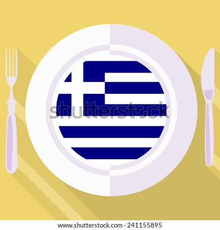 plate in flat style with flag of Greece - stock vector