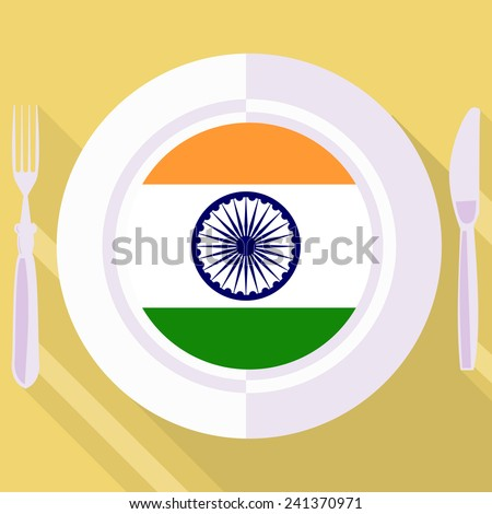 plate in flat style with flag of India - stock vector
