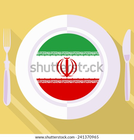 plate in flat style with flag of Iran