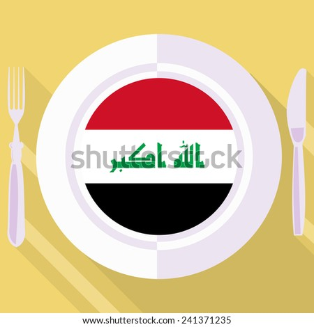 plate in flat style with flag of Iraq - stock vector