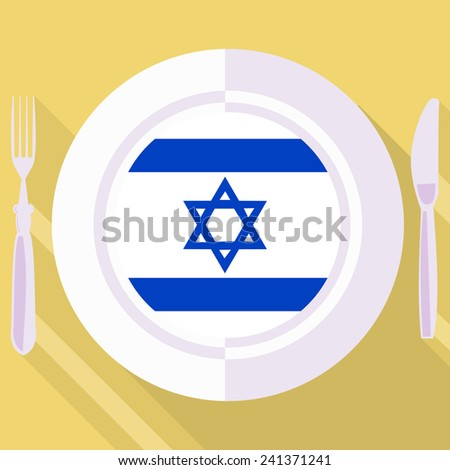 plate in flat style with flag of Israel - stock vector