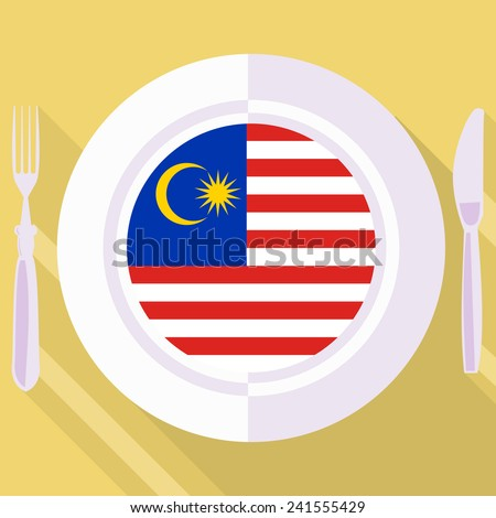 plate in flat style with flag of Malaysia - stock vector