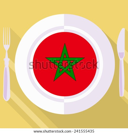 plate in flat style with flag of Morocco - stock vector
