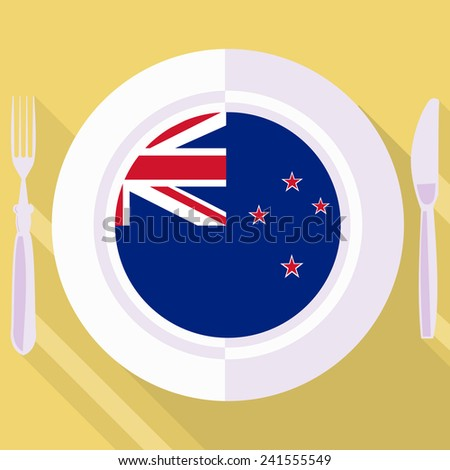 plate in flat style with flag of New Zealand
