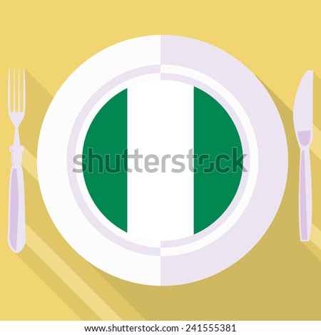 plate in flat style with flag of Nigeria - stock vector