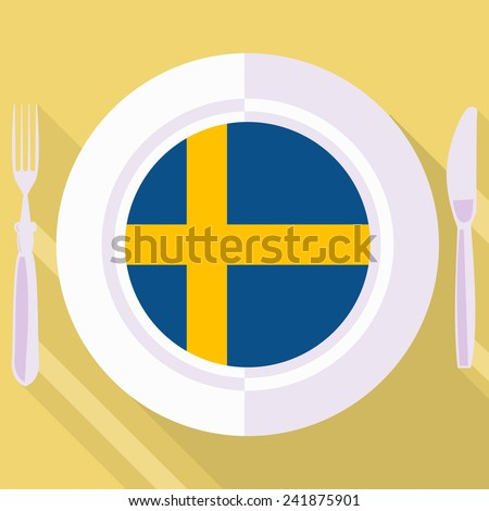 plate in flat style with flag of Sweden - stock vector