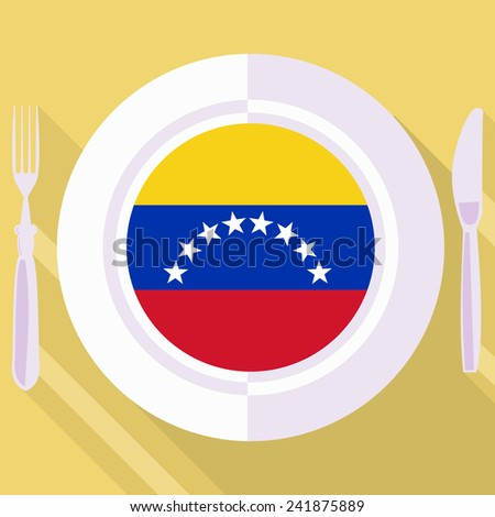 plate in flat style with flag of Venezuela