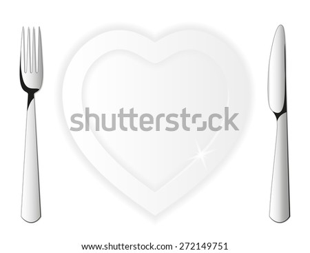 Plate in the shape of a heart & Cutlery