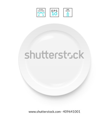 Plate isolated. Cutlery items realistic. Plate isolation on a white background . Cutlery object realistic. Plate top view isolated. Plate for dishes Template for food presentation. - stock vector