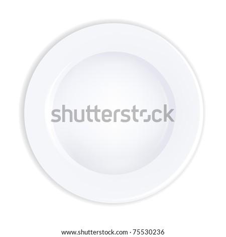 Plate, Isolated On White Background, Vector Illustration