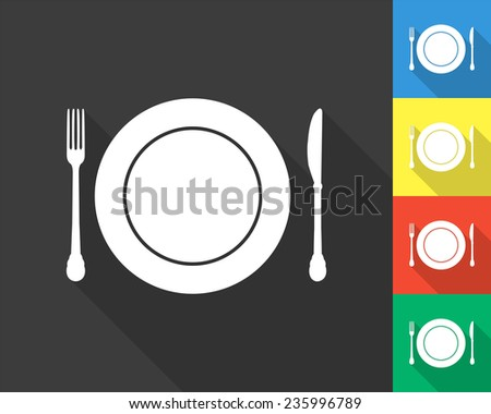 plate knife and fork icon - gray and colored (blue, yellow, red, green) vector illustration with long shadow - stock vector