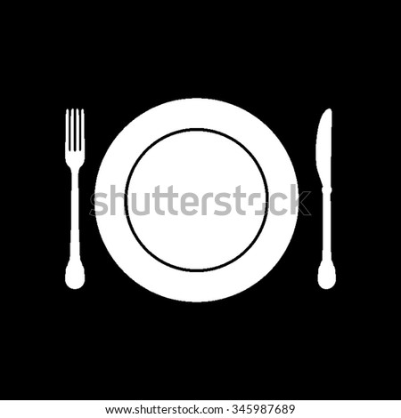 plate knife and fork vector icon isolated on black - stock vector