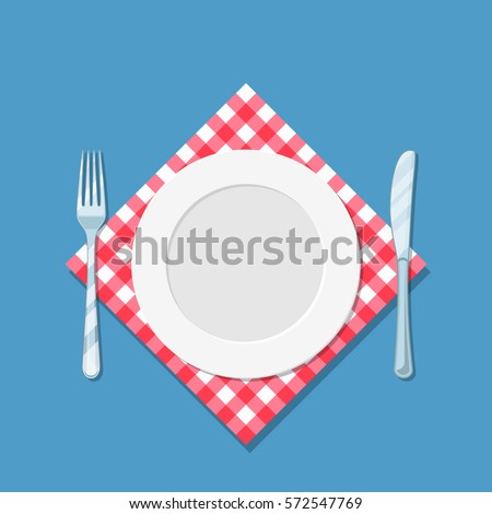 plate knife and forkon red checked cloth. vector illustration in flat style