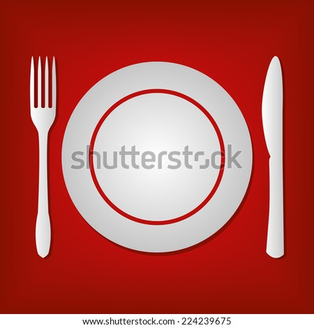 Plate Knife Fork Icon - stock vector