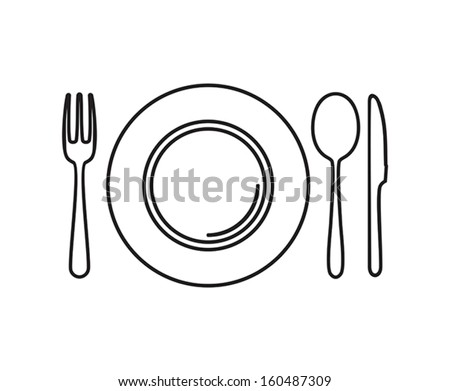 Plate, knife, spoon and fork - stock vector