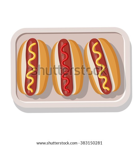 Plate of grilled hotdogs with mustard and ketchup. Vector illustration