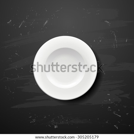 Plate on white blackboard  - stock vector