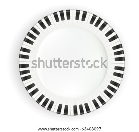plate piano key - stock vector