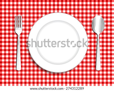 Plate setting white with red checkered tablecloth  spoon and fork vector illustration