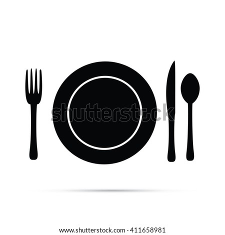 Plate Setting with Fork, Knife, and Spoon Icon - stock vector