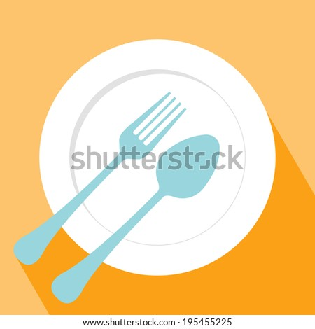 Plate spoon and fork icon. Fork, spoon and Plate symbol. Elements for design. - stock vector