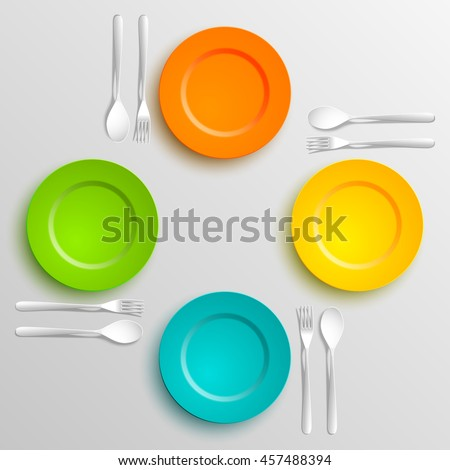 Plate Spoon And Fork Isolated On Napkin Background Canteen Icon Dining Room Badge