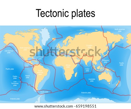Plate Tectonics Map Major Minor Plates Stock Vector - Plate tectonics map