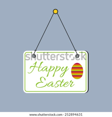 Plate with congratulations, hanging on the door. Happy Easter. Easter Egg - stock vector