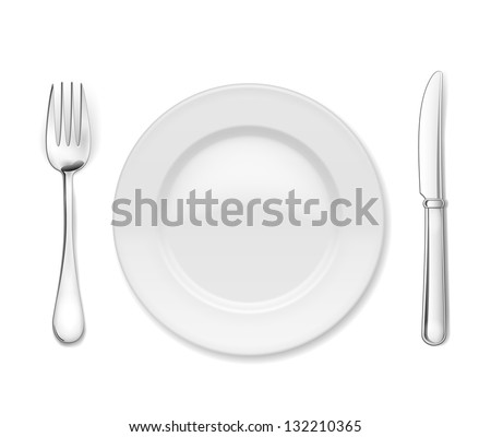 Plate with cutlery: knife and fork, isolated on white - stock vector