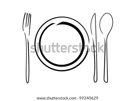 Plate with Cutlery - knives, spoons and fork on white background. Vector illustration. - stock vector