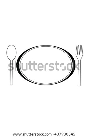 Plate with Cutlery , spoons and fork on white background. Vector illustration.