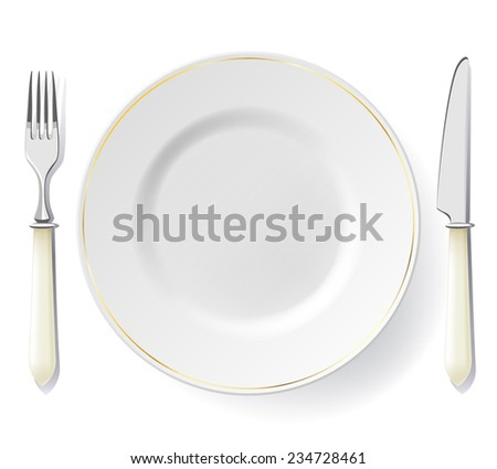 Plate with golden line decor, fork and knife isolated on white. Dinner set. - stock vector