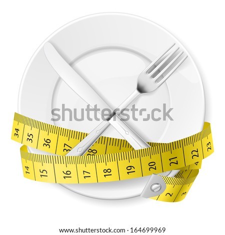 Plate with measuring tape and crossed fok and knife. Diet concept. - stock vector