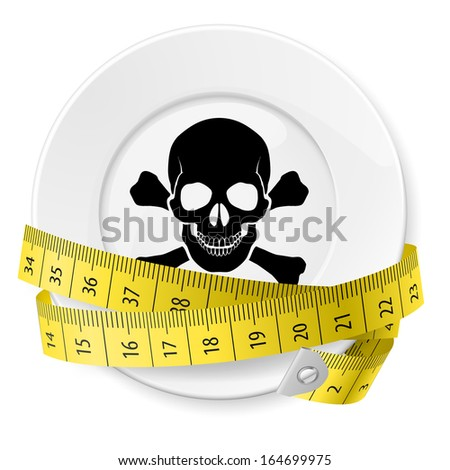 Plate with measuring tape and skull with crossed bones. Diet concept. - stock vector