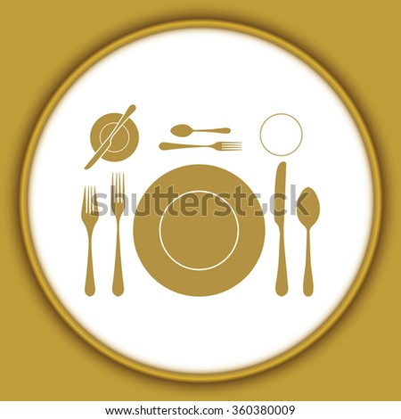 plate with spoon, knife and fork - stock vector