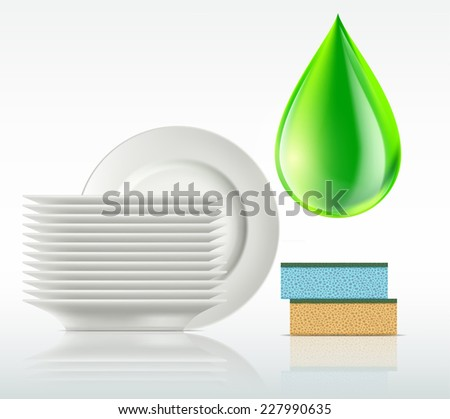plates and a drop of detergent isolated on white background - stock vector
