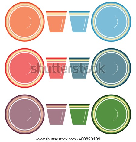 Plates and glasses vector set on the white background