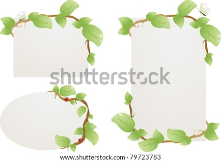 Plates for the text, framed by branches with leaves. - stock vector
