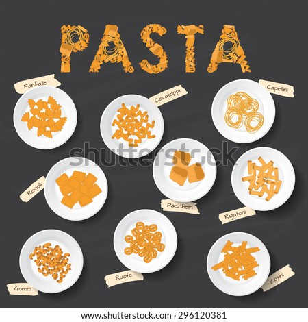 Plates with different kinds of pasta on the chalkboard. Signed name pasta.  Editable Vector illustration - stock vector