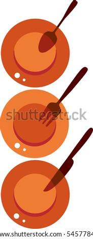 plates with fork, knife and spoon - stock vector