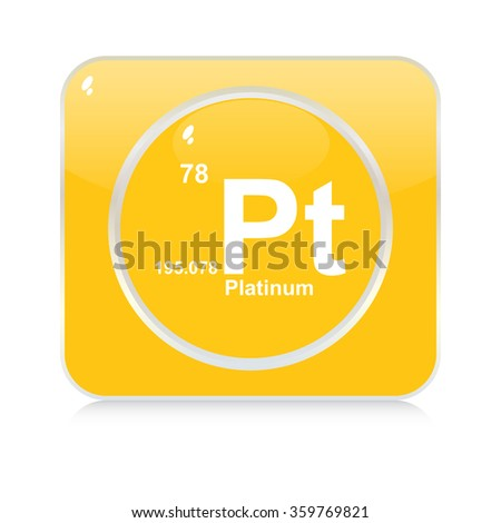 platinum chemical element button - stock vector