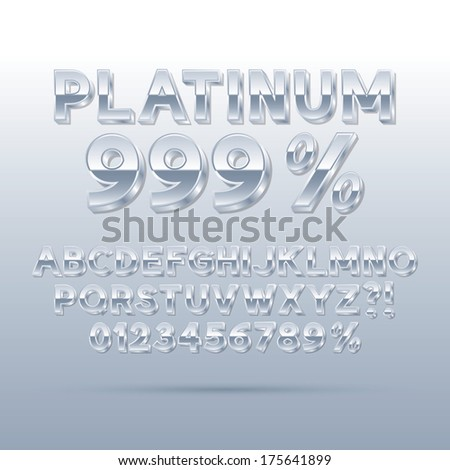 Platinum Silver Font and Numbers, Eps 10 Vector, Editable for any Background - stock vector
