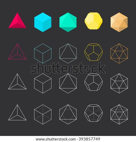 Platonic solids, vector illustration, line design - stock vector