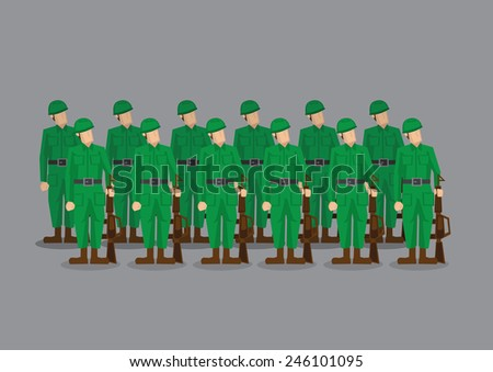 Platoon of military army in green uniform holding machine guns standing at attention at parade.